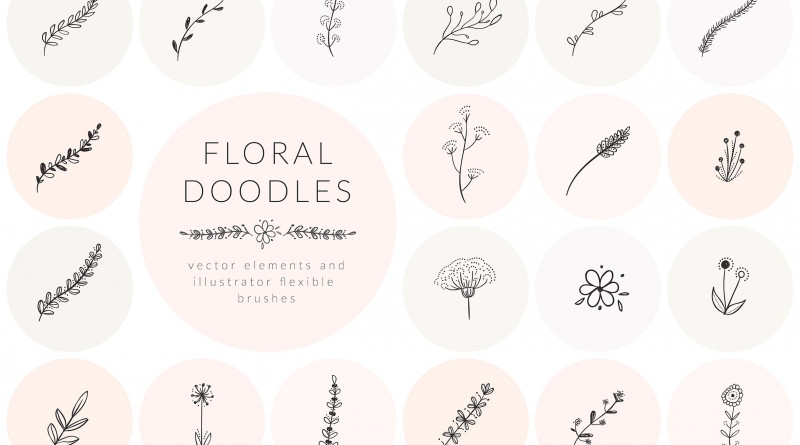 Hand Drawn Floral Doodles Vol.1
