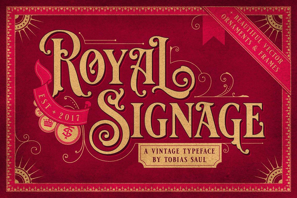 Tobias Saul | ROYAL SIGNAGE + ORNAMENTS (1 font) ~ $24
