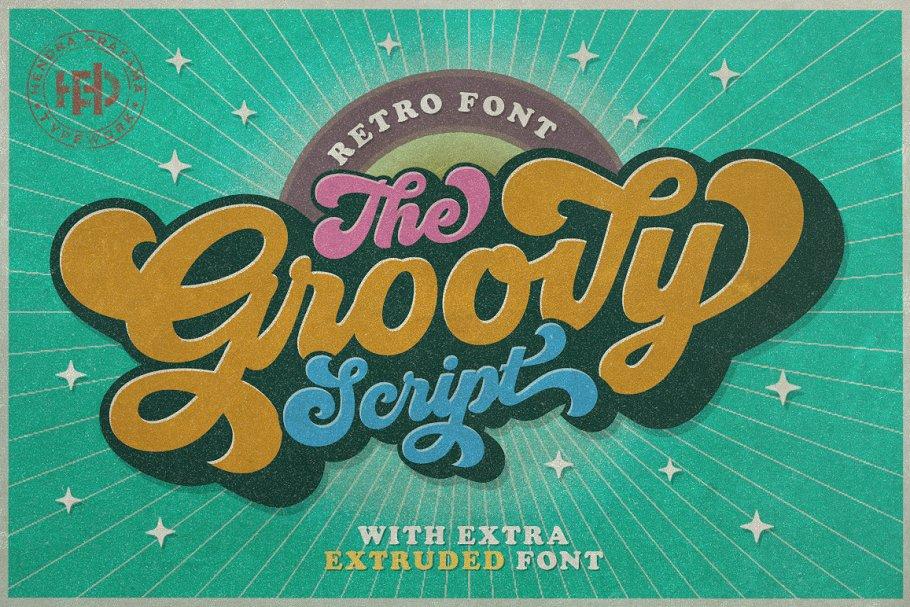 Hendra Pratama | Groovy - Retro Font (2 fonts) ~ $19