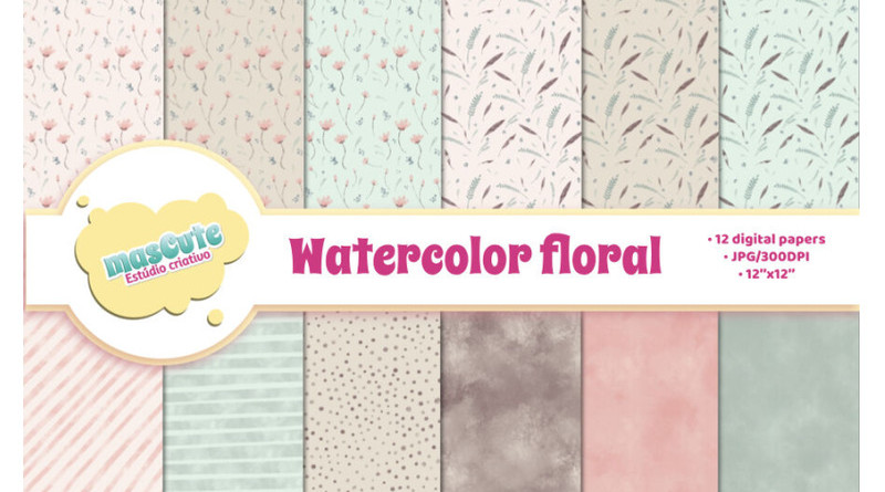 TheHungryJPEG | Digital Paper Pack - Watercolor Floral (Mascuteestudio) ~ $4