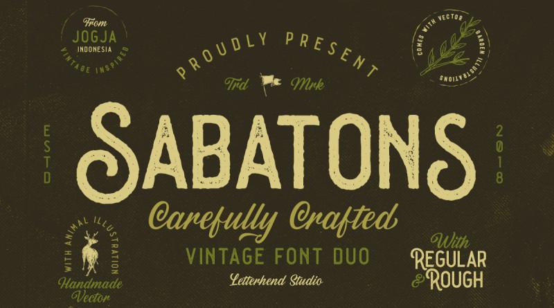 Letterhend Studio | Sabatons - Vintage Font Duo (4 fonts) ~ $25