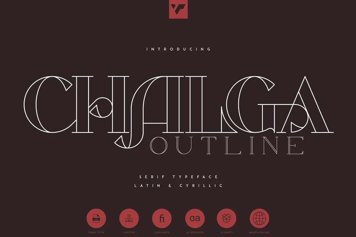 VPcreativeshop | Chalga Outline - Serif Typeface (3 fonts) ~ $15
